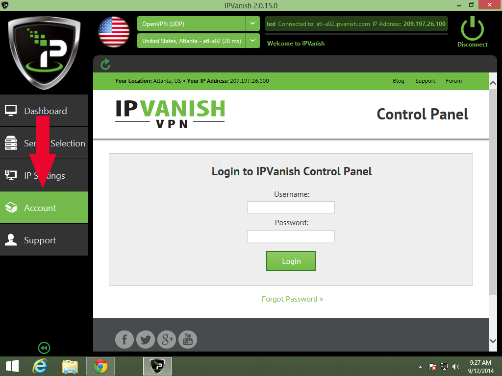 IPVanish Die Windows VPN Client-Software
